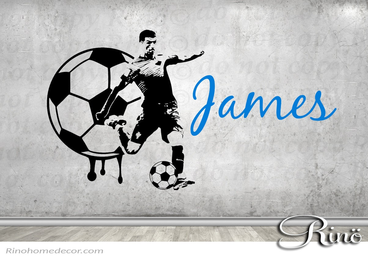 Soccer Decal Football Custom Name Large Soccer Wall Art