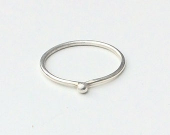 sterling silver dot ring - stacking bead ring - shiny silver dot - minimalist design stackable ring - Hallmarked 925