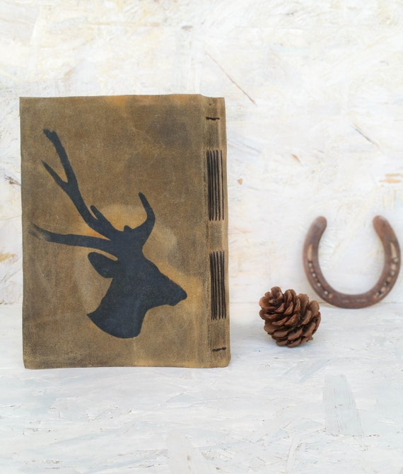 rustic guest book boyfriend gift husband book deer head. Black Bedroom Furniture Sets. Home Design Ideas