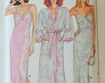 Butterick Pattern 3713 - Misses' Robe and Nightgown - Sizes 6 thru 24  UNCUT