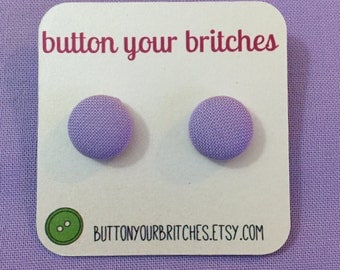 Solid Color Fabric Button Earrings, Many Colors to Choose From!