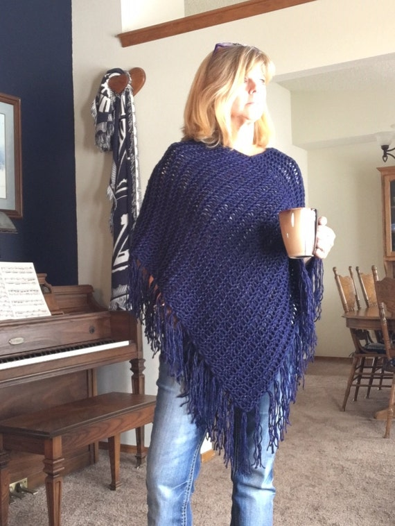 Magpie Poncho -- a loom knit pattern
