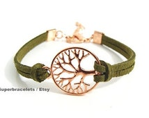 9 Colors Real Suede leather Tree of life Bracelet, Tree of life Bracelet, Tree of life Bracelets, tree of life