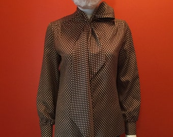 1970's Vintage Lee Mar Flared Tie Scarf Collar Blouse