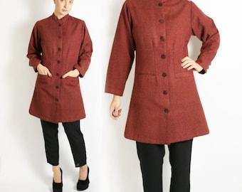 Vintage 80's 90's Marsala Handwoven Wool Oriental Style Mandarin Collar Coat Jacket - S/M