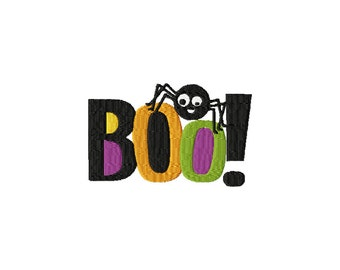 Boo! Halloween Spider Embroidery Design