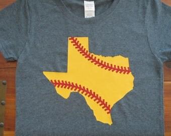 Softball Shirt, Texas Softball Shirt, Glitter Softball Shirt, Girls Softball Shirt, Women's Softball Shirt, Mom Softball Shirt, Yellow