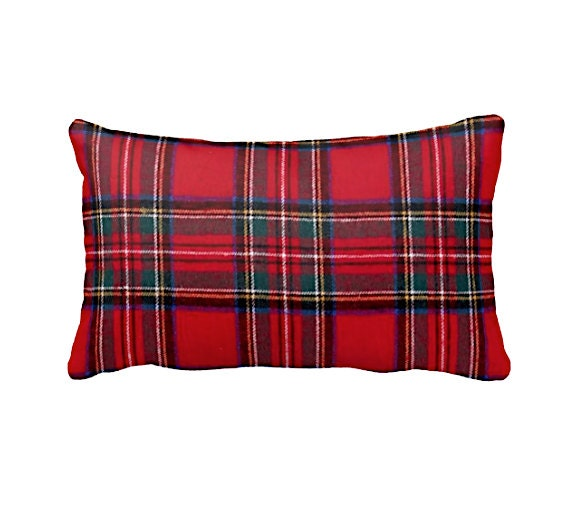 Decorative Plaid Pillows : Red Throw Pillows Decorative Pillow Red Cushion Cover Plaid