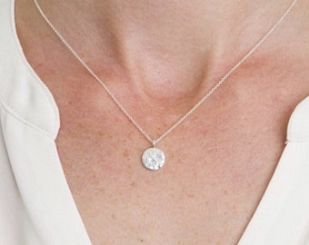Hammered Sterling Silver Disc Necklace - 10 mm - Coin - Circle - Short chain - Simple - Everyday Necklace