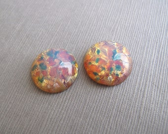 2pcs Harlequin Glass Round Cabochons, Pink Opal Glass Stones 18mm - C-29MCFS-60