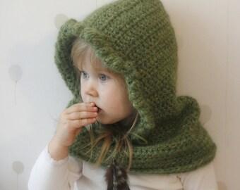 CROCHET PATTERN Hooded cowl Eva  (baby, toddler, child sizes)