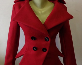 Red jacket/Red wool coat/Red blazer/Slim Fit Asymmetrical Jacket / Tailored blazer