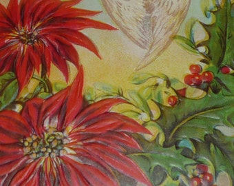 Poinsettias, Holly and Angel Antique Christmas Postcard