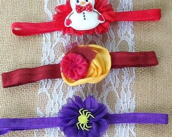 Baby Headband Set, Holiday Headband Set, Little Girls Headbands, Toddler Headbands, Holiday Headbands, Baby Girl Headbands,Baby Bow Headband