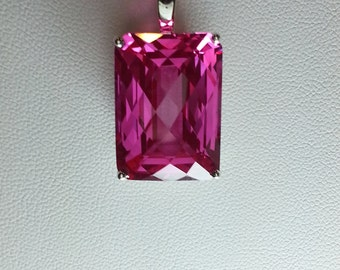Hot Pink Topaz Emerald Cut Pendant in Sterling Silver Laurel Leaf Scroll Setting