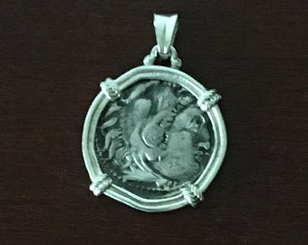 Ancient Silver Coin Pendant of Alexander III'the Great',King of Macedon-(replica) in Modern Sterling Silver Mount-Coin Pendant.