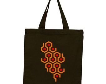 Screen Printed Retro Horror Movie Hotel Carpet Pattern Canvas Tote, Grocery Bag, Farmers Market Bag, 100% Cotton