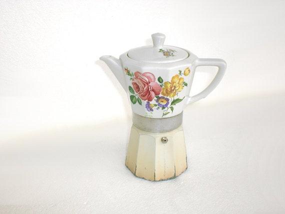 Ceramic Espresso Maker ~ Italian espresso maker in floral ceramic moka stove
