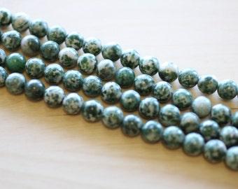 8MM Natural Green  Spot Beads.