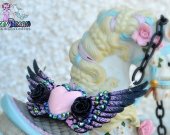 Angelic Heart hair clip /necklace Glitter, Pastel Goth, Fairy Kei, Soft Grunge, Kawaii