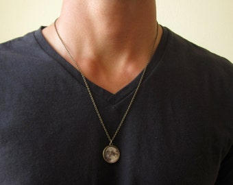 Men's Moon Necklace - Mens Necklace - Men's Bronze Necklace - Mens Jewelry - Necklaces For Men - Jewelry For Men - Gift for Him