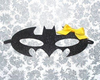 Adorable Batman Batgirl Cat Woman Glitter Mask Headband for Baby Girl 0-12 Months Old, Child, or Adult First Halloween Robin Mask