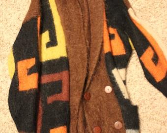 SALE 1980s Sweater Cardigan Print Oversized 80s Avante Garde Jacket