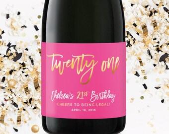 21st Birthday Champagne Label - Personalized Birthday Label - Twenty One and Legal Birthday Girl Bottle Label - 21st Birthday