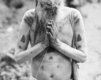 Travel Photography - Sadhu of Pashupatinath - Black and White Print