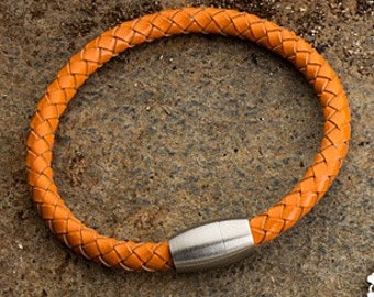 Burnt Orange Leather Mens Bracelet