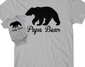 Fathers Day Gift Ideas Papa Bear Baby Bear Set Bear Cub Matching T-Shirt Infant New Toddler Child Kid Dad Baby Shower Daddy Pop Dad Reveal
