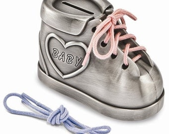 New Baby Gift Baby Shoe Bank W/Pink And Blue Laces Personalized and Engraved New Baby Gift Bank