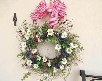 Summer wreaths, Strawberries, Blueberries, Daisy wreath,July 4th, Wreaths for Summer, Picnic, Summer decor, Red white blue, Fourth of July