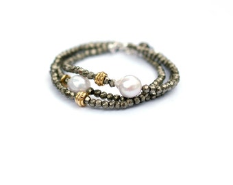 Pyrite Bracelet, Pyrite Pearl Bracelet, Flameball Pearl Simple Bracelet, Boho Bracelet Set, Metallic Bracelet, Baroque Pearl Bracelet