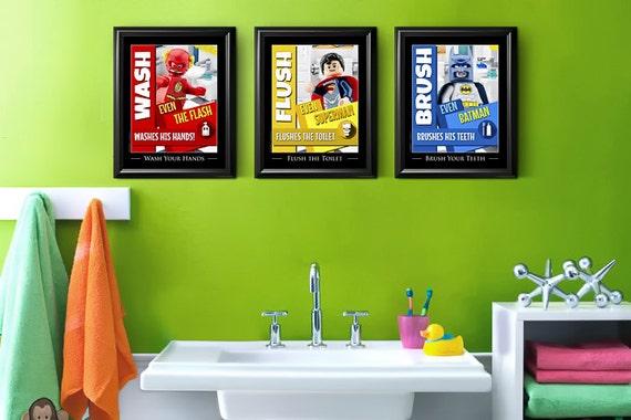 Kids Bathroom Art Kids Bathroom Decor Lego 174 Superheroes