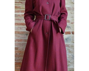 1980s prêt a Porter wool burgundy long fitted belted TRENCH COAT // size eu 38 - uk 10 - us 6