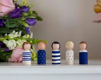 Navy Spots and Stripe Peg Dolls