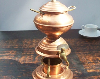 Coffee Server / Brass and Wood Details / French Copper / Vintage Coffee Decor / Joseph Heinrich Paris