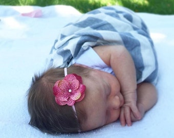 Dainty Pink Headband, Mauve Headband, Baby Headband, Newborn Photo Prop, Newborn Headband, Hydrangea Flower Headband, Flower Headband Baby