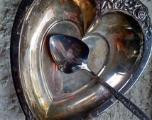 Vintage International Deep Silver Laurel Mist heart shaped serving dish and spoon