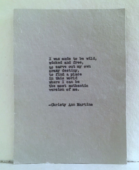Birthday Gift Literary Gifts - Wild Wicked and Free Poem - Hand Typed with Remington Typewriter