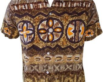 1960s Large Shirt Tiki Tropical Polynesian Tribal African Batik Mens Brown Native Retro Hawaiian Cave Symbols Voodoo Ritual Resort Luau Mod