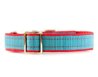 Dog Collar, 1 Inch Dog Collar, Modern Dog Collar, Colorful Dog Collar, Turquoise and Red Dog Collar, Metal Buckle Collars, Simple Dog Collar