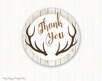 "Deer Favor Circles, Woodland Favor, Deer Favor Stickers, Tags, Favor Stickers, INSTANT DOWNLOAD - PRINTABLE - 2""  - BSB005"