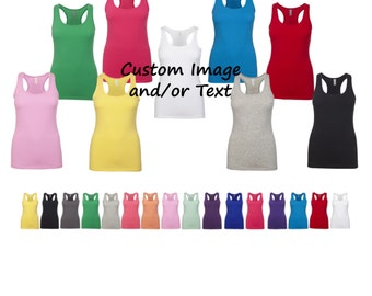 Custom Logo and or Text Womens Spandex Tank Top - Choose Your Font and Font Color
