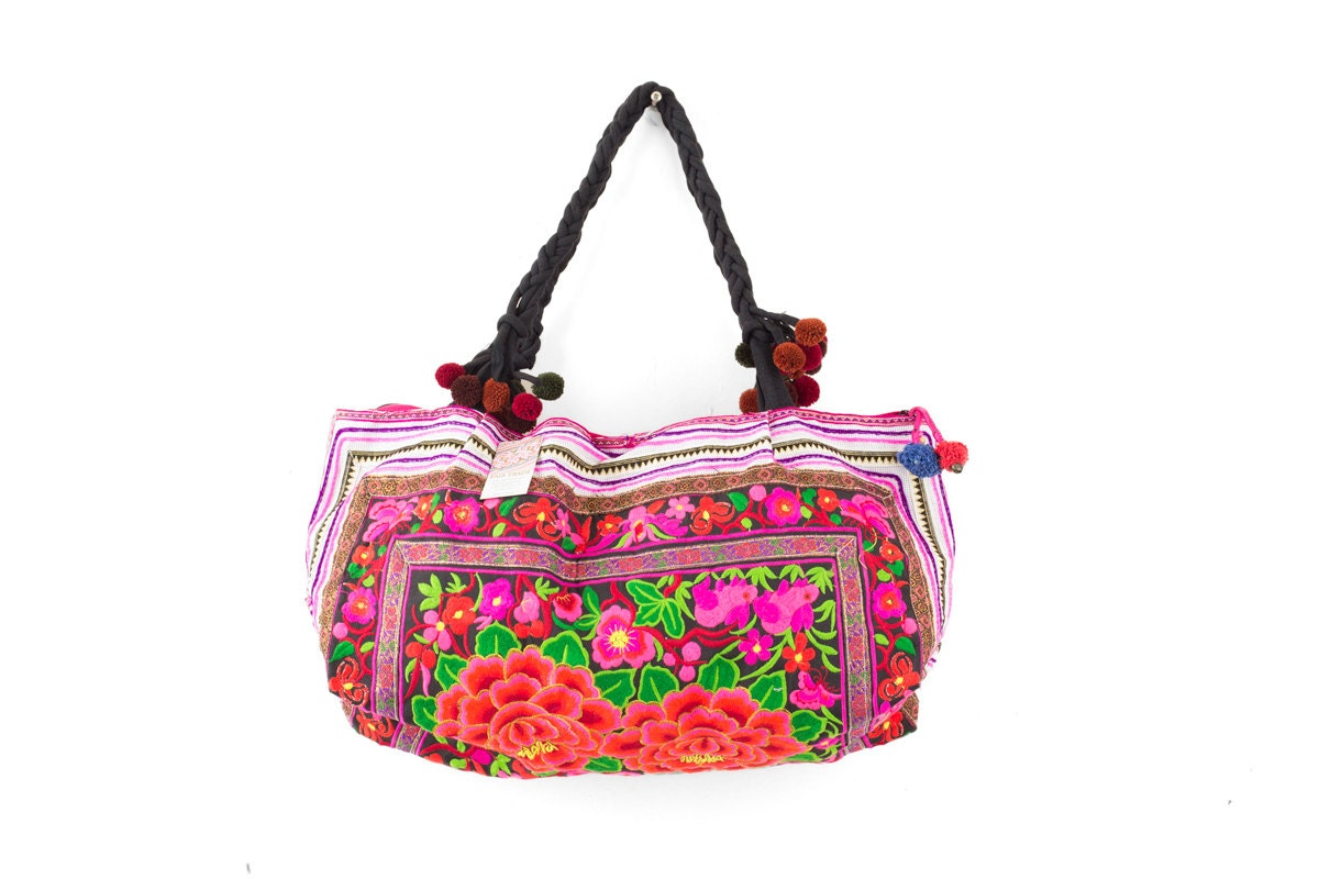 Hmong bag hill tribe embroidered tote handbag rose pattern