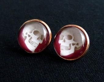 Blood Skull Stud Earrings-Halloween Earrings-Skull Earrings-Gothic Earrings-Skull Jewelry-Skulls-Goth Jewelry-Goth Earrings