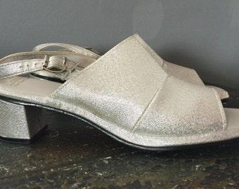 Silver shimmer L.G. Haig Sling Backs Heels Open Toe Size  8 AA Retro 60s-70s