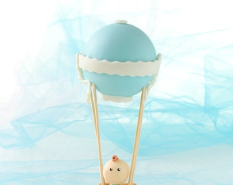 Hot Air Balloon Cake Topper-Handmade Cold Porcelain Baby Boy Hot Air Balloon-Baby Shower Baptism Christening Birthday Party Custom Name-Clay