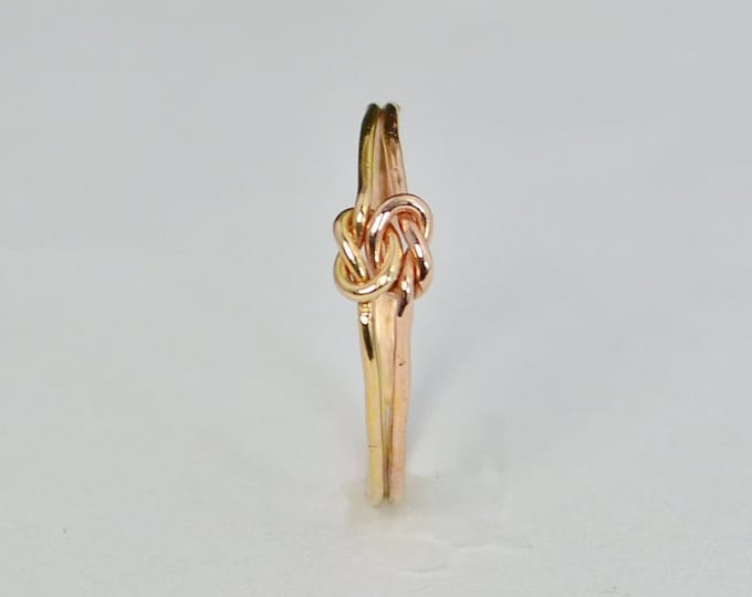 Dainty Gold and Rose Gold Double Knot Ring, Love Ring, Love Knot Ring, BFF Ring, Bridal Ring, Promise Ring, Mother Daughter Ring